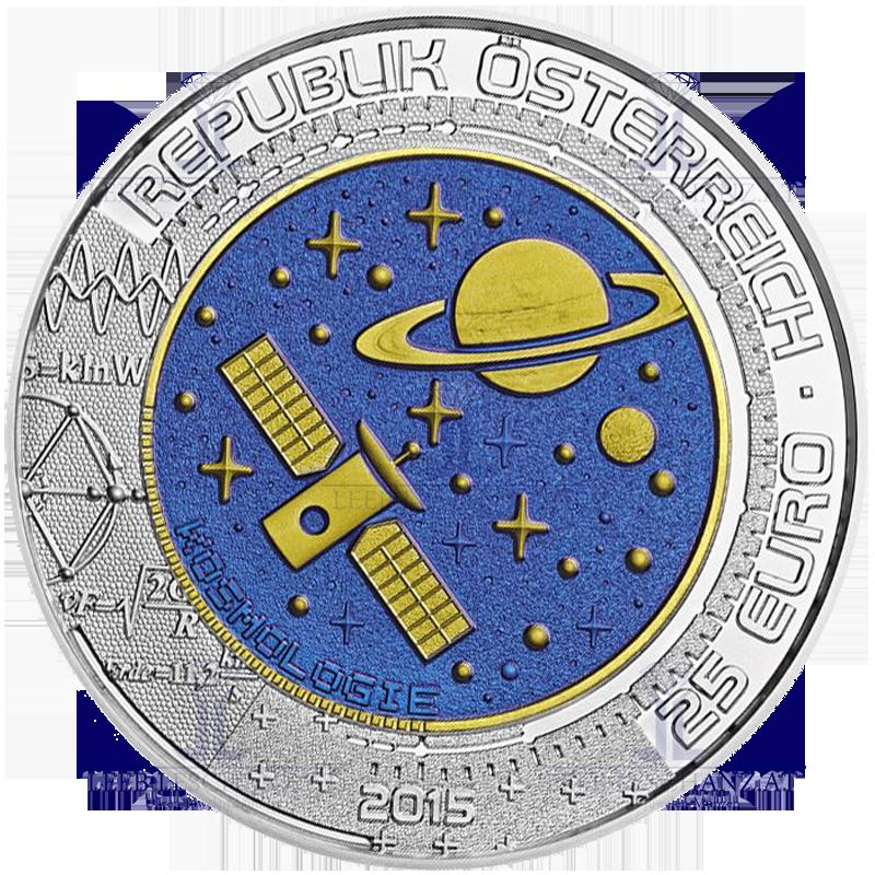 österreich 25 Euro 2015 Silber Niob Münze Kosmologie Leeb