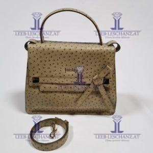 Escada Leather Bag Ostrich Sand Color